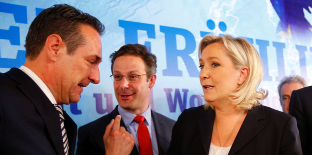 Heinz-Christian Strache (FPÖ), Marcus Pretzell (AfD) und Marine Le Pen (Front National)