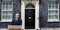 David Cameron in der Downing Street in London