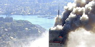 Ein brennender Turm des World Trade Center in New York am 11. September 2001