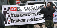 Transparent der Pegida Havelland