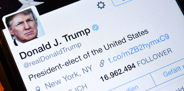Trumps Twitterprofil: President-elect of the United States. Folge ich- 41. Follower: 16.962.494