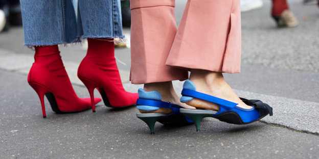Red high heels and blue high heel sandals
