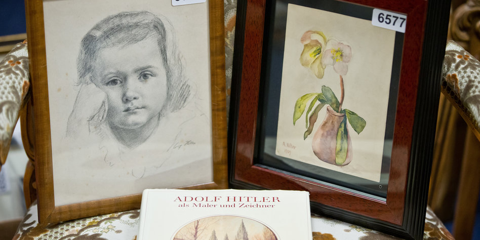 Adolf Hitler'in yaptigi resimler, bir kiz figürü, bir cicekli vazo