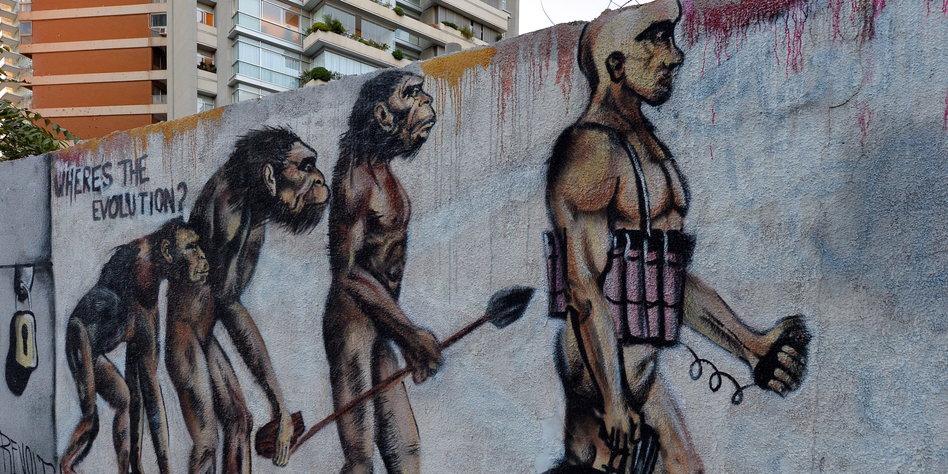 Ein politisches Graffito zur Evolution