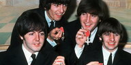 Die Beatles Paul McCartney (l-r), George Harrison, John Lennon und Ringo Starr