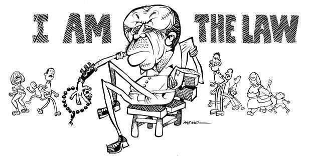 Erdoagn, gezeichnet, mit der Schrift, I Am the law