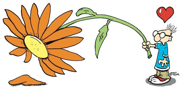 Zeichnung von Tom: Mann mit Blume