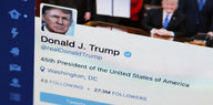 Ein Screenshot des Twitter-Accounts von US-Präsident Donald Trump