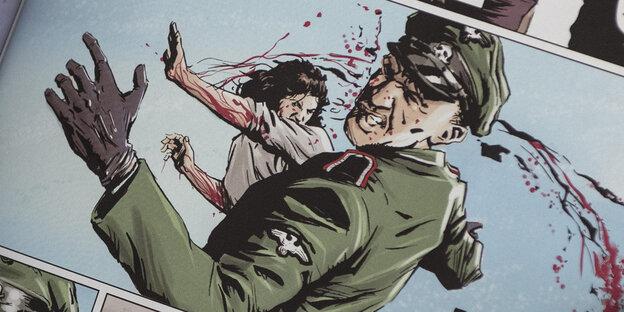 Ein Mensch hält einen aufgeschlagenen Comic in den Händen