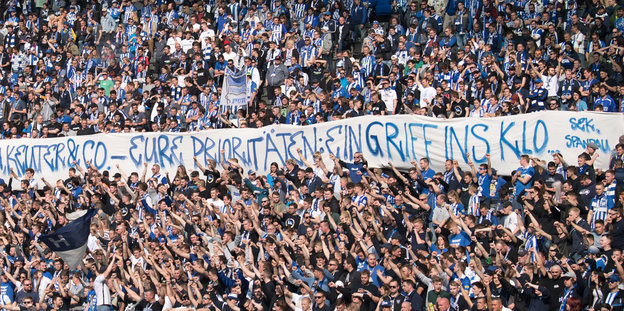 Transparent im hertha-stadion