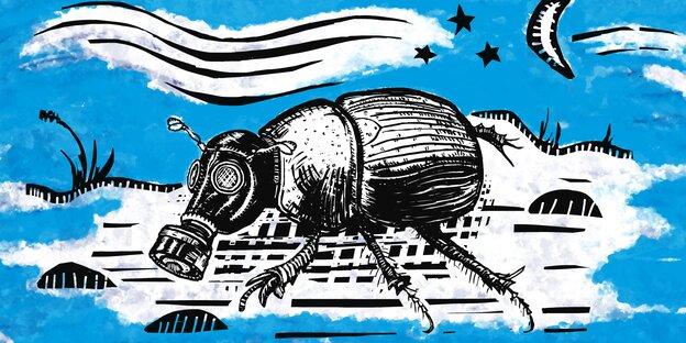 Ilustration: Ein Käfer mit Gasmaske