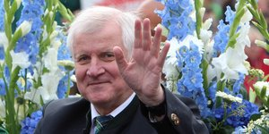 Seehofer in Tracht inder Kutsche, winkt