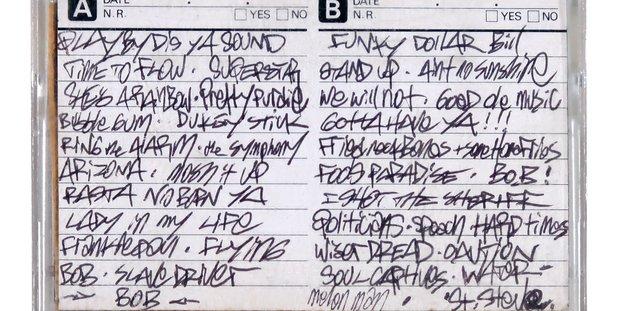 Eine von den Beastie Boys vollgeschriebene Kassettenbeschreibung