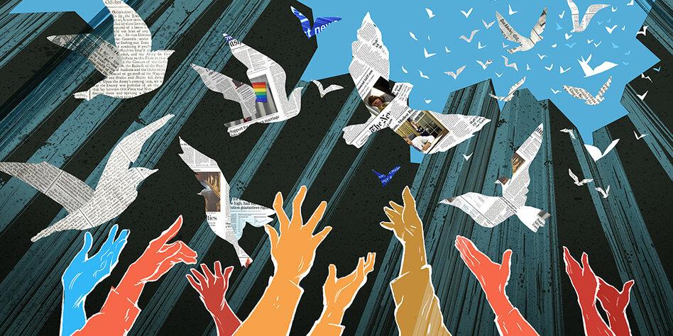 Illustration Hände, Tauben, Medien