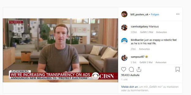 Mark Zuckerberg in dem Deepfake-Video auf Instagram