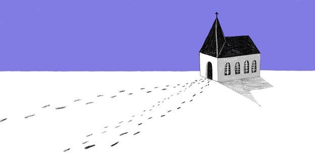 Zeichnung einer Kirche, zu der Fußspuren hin und davon weg führen