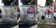 Food-Graffiti gegen Hakenkreuze: Antifa heißt Anmalen!