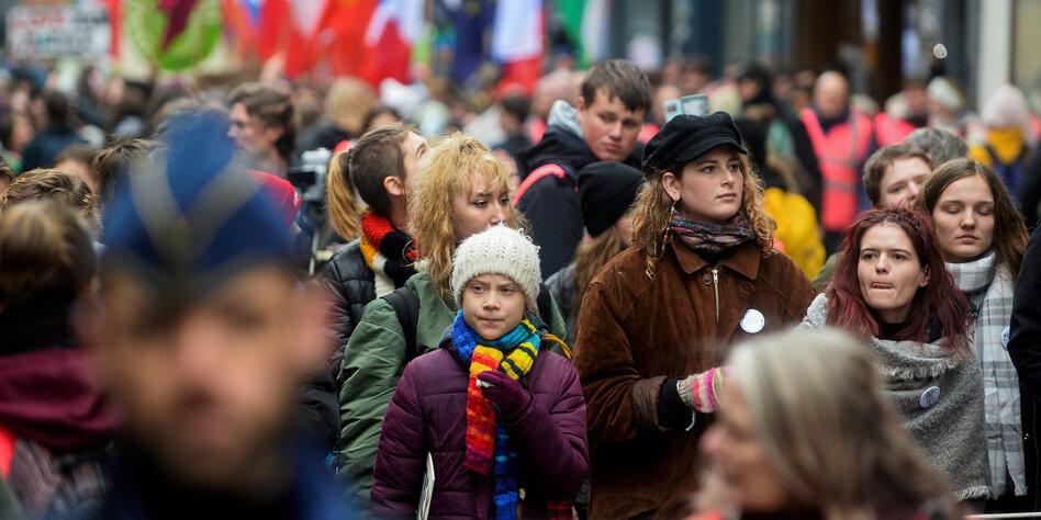Greta Thunberg auf einer Demonstration