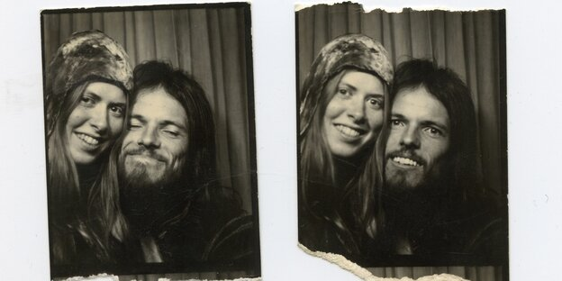 A couple on two Black-and-white passport photos taken in a Photo booth