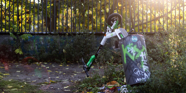 r E-Scooter des Anbieters Lime in einem Mülleimer