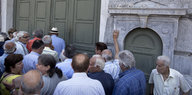 Pensioners in front of a bank in Athens