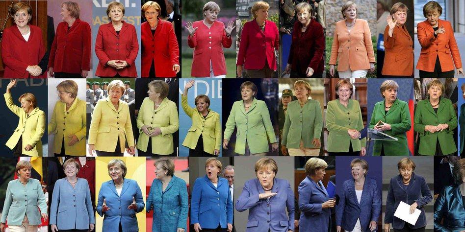 Fotomontage Mit Motiven Von Bundeskanzlerin Angela Merkel.