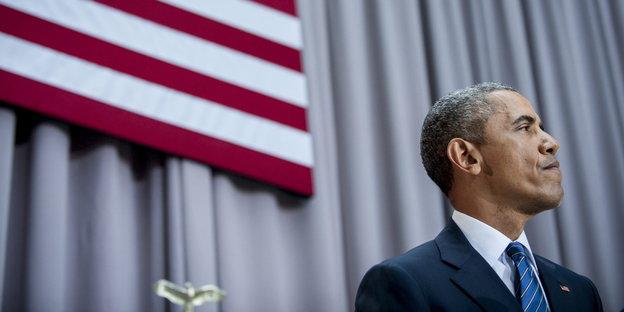 Porträt Obama, im Hintergrund die amerikanische Flagge