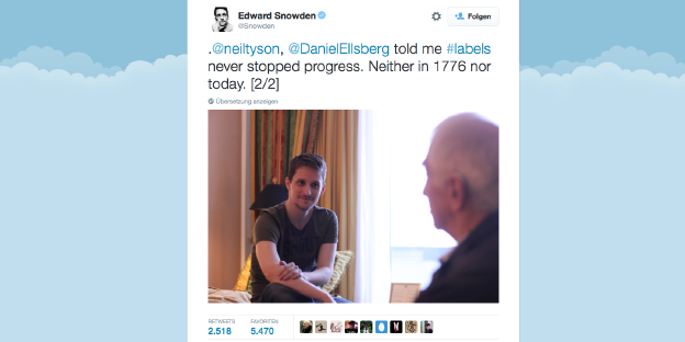 Ein Screenshot von Edward Snowdens Twitter-Account.