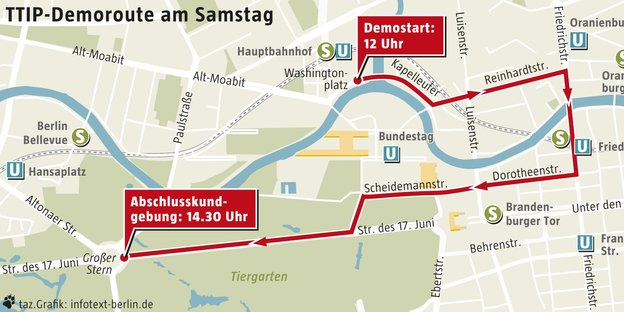 Route der ttip-demonstration